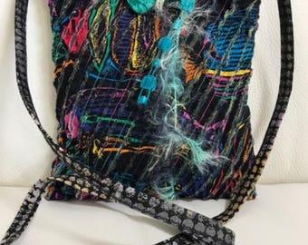 Black layered chenille shoulder bag