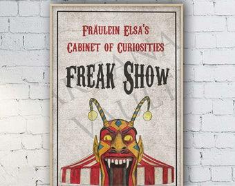 American Horror Story Freak Show Inspired Print / Painting / Prop / ahs / freakshow / Elsa Mars / jimmy darling / circus / clown