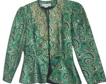 AJ Bari -Imperial Print VTG Jeweled Peplum Formal Jacket