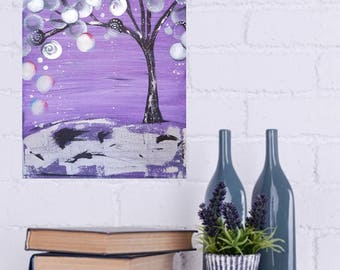 Abstract Tree Acrylic Painting 9x12 Textured Purple, Silver Foil, Black,Modern Art Wall Decor