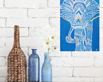 Abstract Elephant Acrylic Painting 9x12 BLUE, Gold Foil, White, Minimalist Modern Art Wall Decor Design