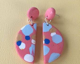 Dotted Half Moon Dangles - Coral