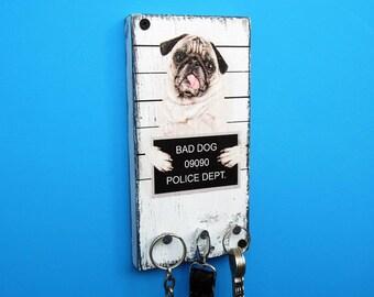 Key Holder for wall, Key Holder Bad Dog, Key Hooks, Wood Wall Hanger, Bad Dog, FREE shipping