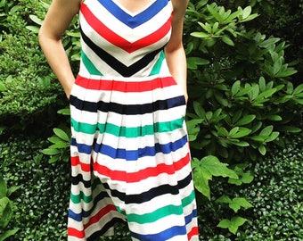vintage 1960's striped sundress - Lanz Original - 100% cotton - size small