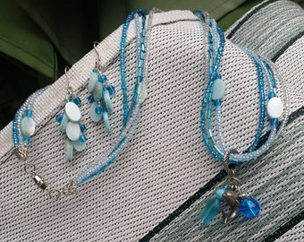 Ocean Blues Dolphin Necklace with Blue Dangle Earrings