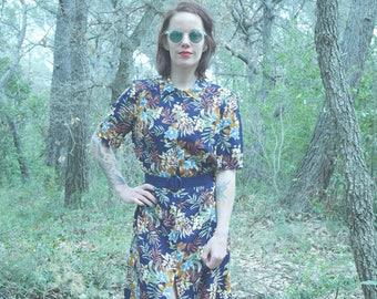 Vintage Navy Blue floral shirt dress