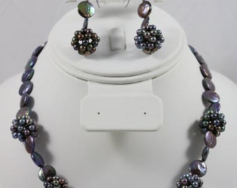 925 Sterling Silver Black Coin Pearl Cluster Bead Ball Magnetic Clasp Necklace Dangle Fish Hook Earrings Set