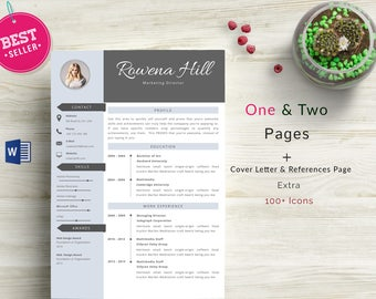 Professional CV Template (Business Card Free), MS Word, Creative Resume Template, Simple Resume, Teacher Resume, Instant Download, Rowena