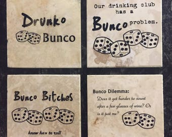 Drunko Bunco coasters (set of 4)