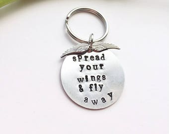 Spread Your Wings Hand-Stamped Keychain