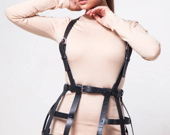 Women leather harness, Sexual Harness,  Body harness, Chest harness, Harness bra, Harness belt