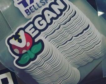 "Mario Piranha Plant Powered - Vegan Sticker - 3.5 "" x 1.7 "" (1 sticker)"