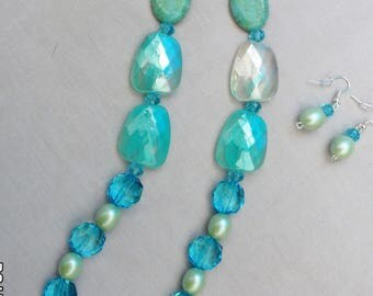 Turqoise Blue Original Handcrafted Acrylic Bead Jewelry Set - Necklace and Earrings
