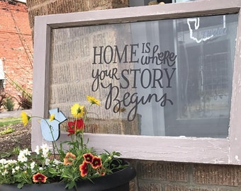 """Wood Frame Window """"Home is where your story Begins"""" wall hanging"""