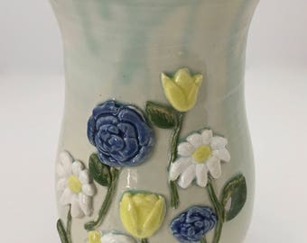 Large Handmade Pottery Ceramic Vase With Blue and Yellow Flowers Handmade Gift Free Shipping