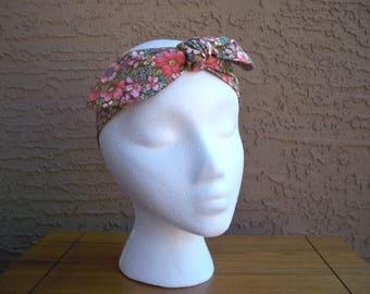 Coral Floral Hair Tie