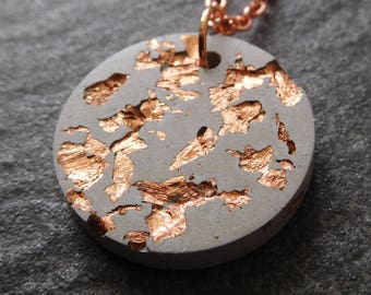 Concrete necklace - copper and concrete - copper flakes - modern jewellery - concrete jewelry - geometric necklace - urban jewelry