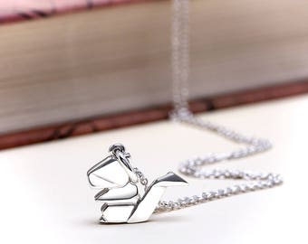 Cute Origami Squirrel Necklace | Sterling Silver Squirrel Charm Necklace | Origami Chubby Squirrel Pendant Animal Jewelry
