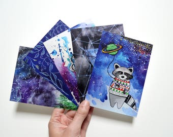 Art cards set christmas card set mini christmas gifts hippie decor modern picture set of 5 cards winter deer mandala painting racoon