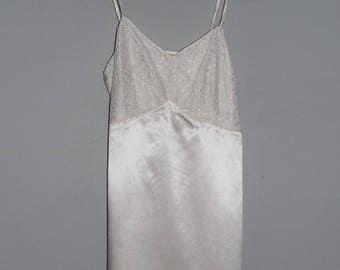 1940s 1950s Satin Lace Slip Petticoat, Ivory White Lace Pin-up Lingerie, Vintage Lace Bodice, Satin Trim Spagetti Straps, Side Hook & Eye