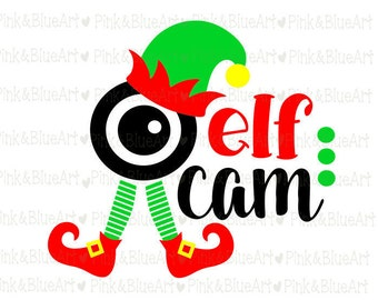 Elf Cam Design - Christmas SVG Cut Files Silhouette Cameo Svg for Cricut and Vinyl File cutting Digital cuts file DXF Png Pdf Eps