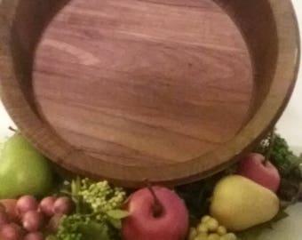 Danish Modern Wooden Teak Bowl by Woodline, Denmark BK, Solid Staved Wood, Salad, Fruit, Bread Server, Vintage Retro Home Decor