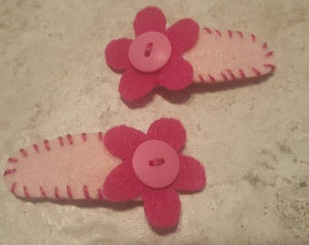 Pink Felt and Button Flower Snap Clip