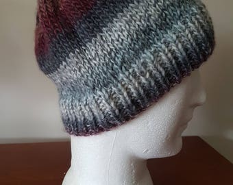 Men's Hand Knitted Beanie - Greys/Browns