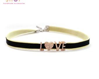 Love choker,Grosgrain ribbon letter choker,Rhinestone letter choker necklace,Letter Choker,Choker necklace,Daily necklace,Letter necklace