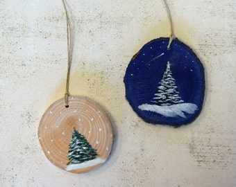 Holiday Christmas ornaments/hand painted ornament wood pine fir tree/ Made in America/USA/ooak/rustic wood slice/unique/party wedding favor/