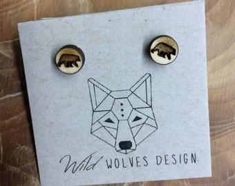 Bear Imprint Wood Circle Stud Earrings