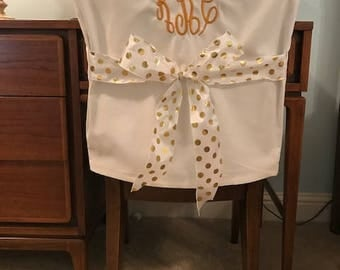 Desk Chair Covers/Off White Monogrammed Dorm Chair Back Cover /  Personalized Chair Cover / Part 91