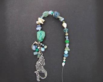 Sedna Goddess Suncatcher/Prayer/Meditation Beads, Goddess of the Sea, Mermaid Goddess, Aquamarine, Chalcedony, Turquoise, Healing Crystals