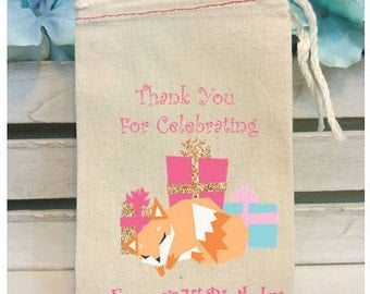 Birthday Party Favor, Party Favor Bag, Fox Party Favor, Muslin Bag, Favor Bag, Fox Birthday