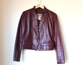 Vintage 1980s Berman Leather Jacket Leather 80 coat Fall jacket Leather blazer Ox Blood Maroon