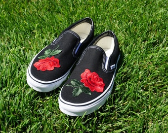 Black/White Slip On Vans Rose Embroidery Shoes