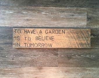 Garden Wooden Sign