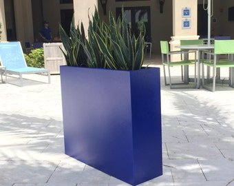 Cobalt Blue Powder Coated Edge Planter