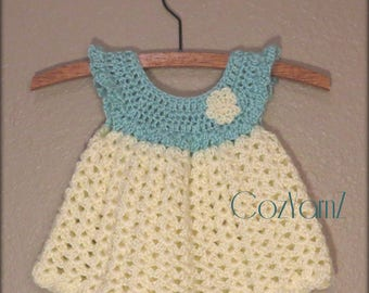 Newborn crochet dress, pinafore dress, infant dress, soft baby dress,  teal & cream little girl dress, dress size 0-3 month, Easter dress