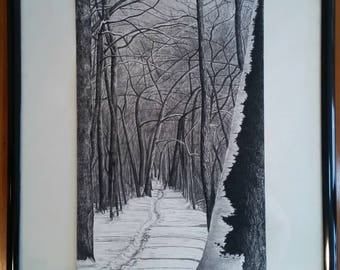 Print- Snowy Forest Path Charcoal Drawing GICLEE PRINT
