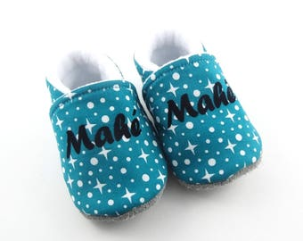 Baby booties customizable leather sole and turquoise green cotton with stars name lined fleece slippers non-slip sole