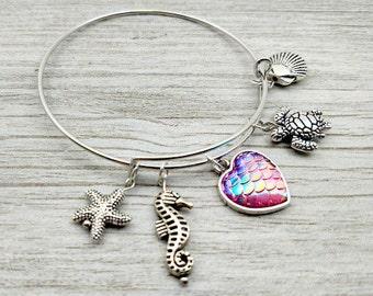 SEA-LIFE CHARM Bracelet - Beach Life - Silver Bangle -Mermaid -Turtle -Seahorse -Starfish - Shell