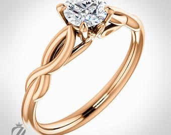 18K Rose Gold Solitaire Diamond Engagement Ring Wedding Ring Bridal Ring