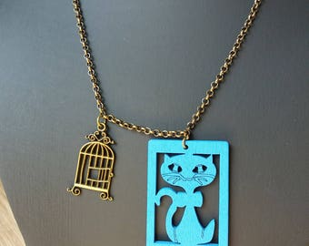 """Necklace with bird cage & cat - Meow - """"Where's the birdie?"""""""