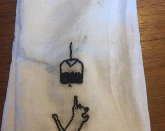 Cat and Tea Bag towel