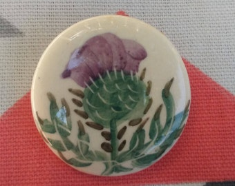 Hand Painted Purple Thistle Pin