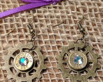 Bullet Dangle Steampunk Gear Earrings w/ Swarovski Crystals