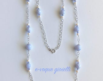 Chanel necklace-silver with chalcedony, tanzanite and pearls