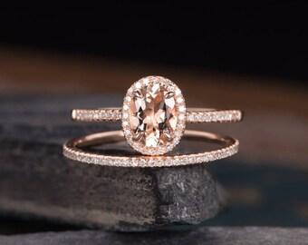 Morganite Engagement Ring Rose Gold Bridal Set 2pcs Halo Diamond Oval Cut Eternity Wedding Band Anniversary Gift For Women Half Eternity