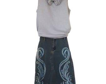 1980's Long Jeans Skirt